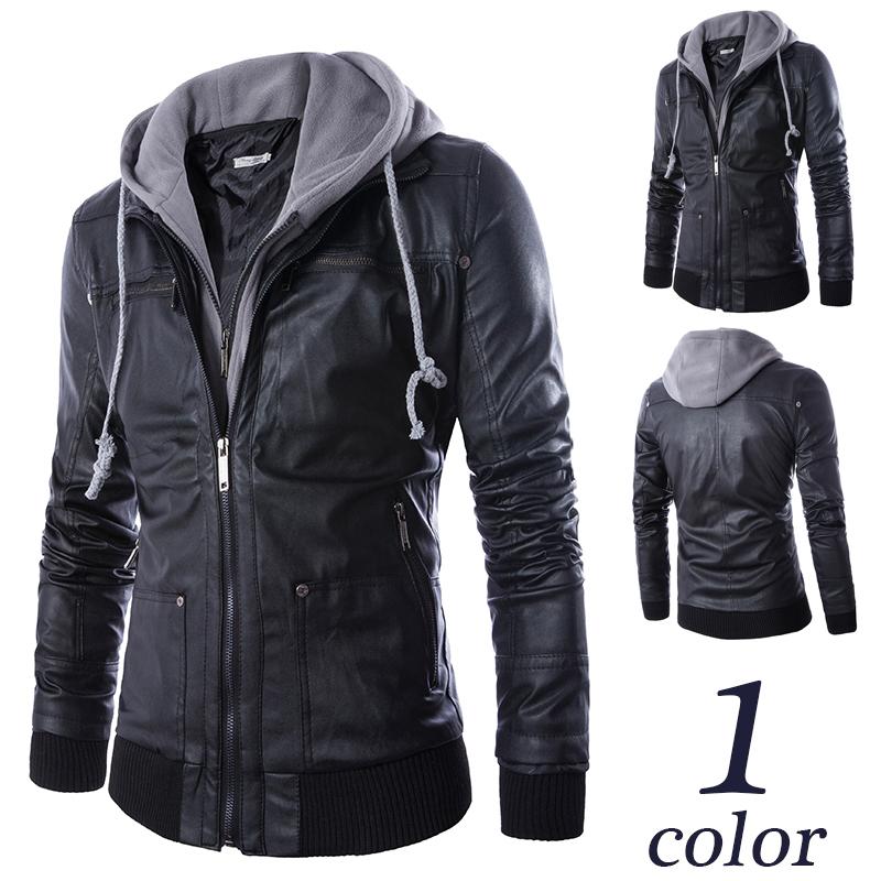 Mode Jassen Lente 2015 : Kopen wholesale fake leather jacket with hood uit