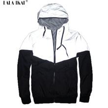 Men Jacket Autumn Patchwork Reflective 3m Jacket Sport Hip Hop Outdoor Waterproof Windbreaker Men Coat Trend Brand SMC0140-5(China (Mainland))