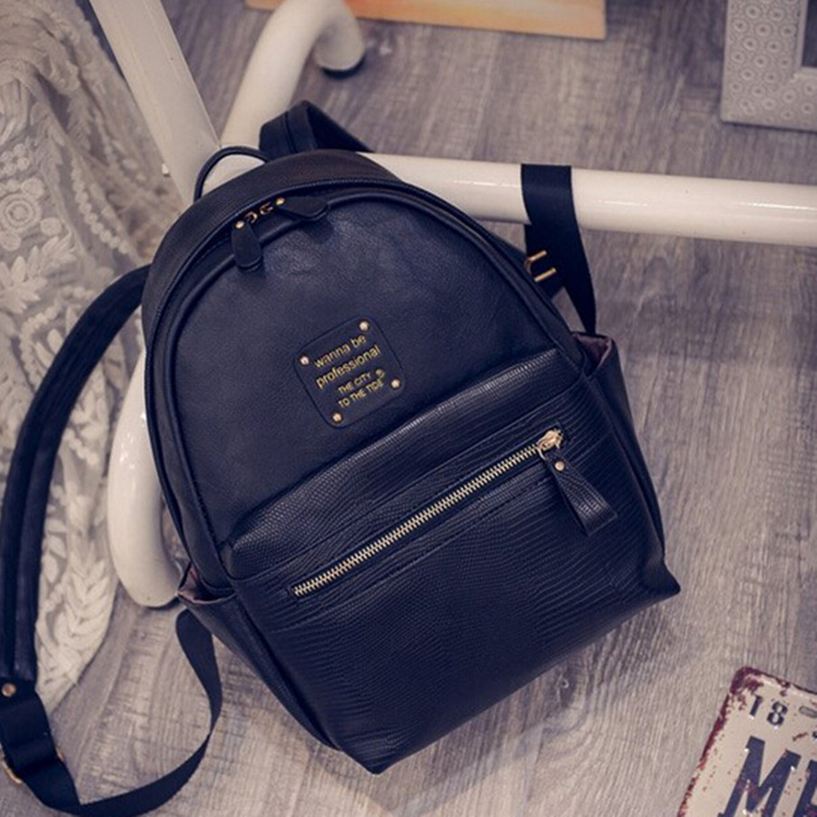 New Women Backpack High Quality Fashion PU Leather Shoulder Bags Black Color School Travel Bag for Teenager Girls Backpack(China (Mainland))