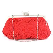 A46 lace cutout red bridal cheongsam bag day clutch