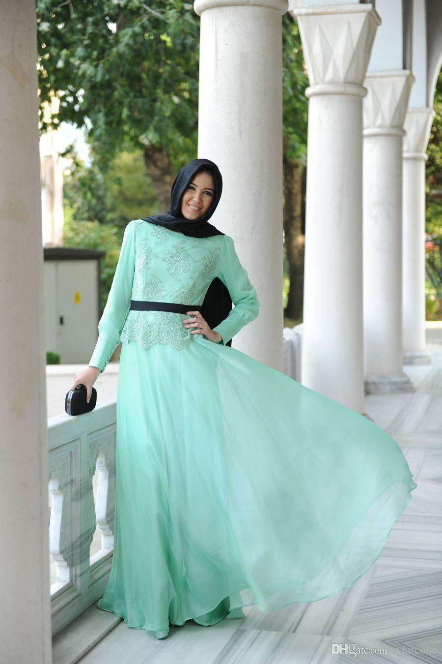 2015 modern muslim wedding dress with lace long sleeve for Dresses for muslim wedding