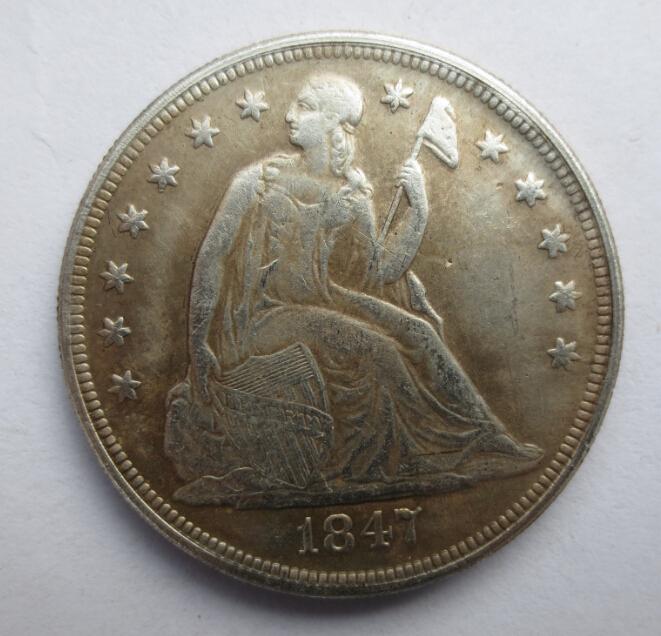Гаджет  1847 90% Silver  $1 Liberty Seated Dollar None Мебель