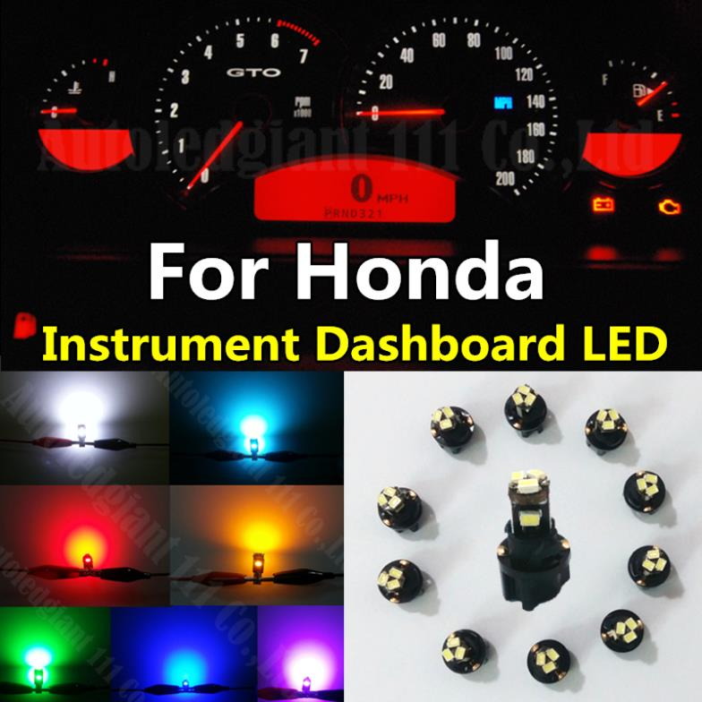 10pieces Green White Red Blue Dash T5 LED Socket Instrument Panel Light Bulb For Honda Accord Civic CR-V Fit Element Pilot(China (Mainland))