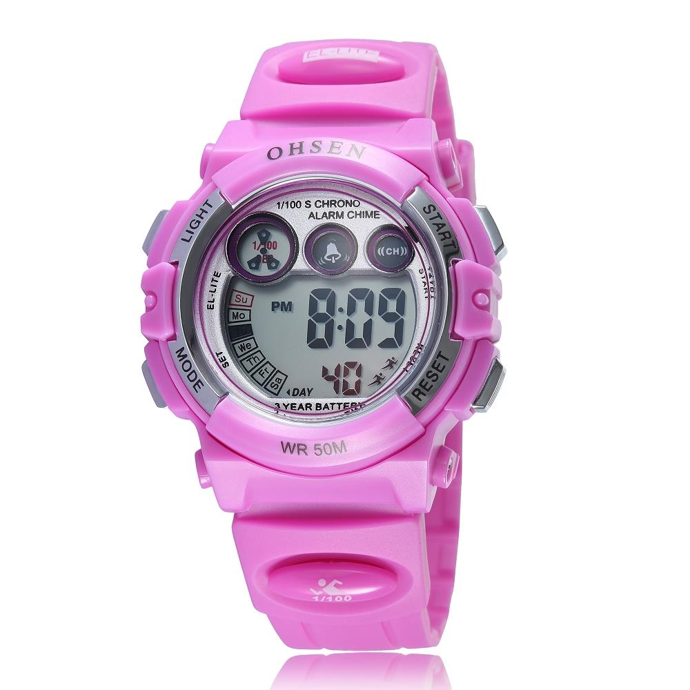 2016 OHSEN Fashion LED Digital Women Sports Watch Plastic Multifunction Wristwatches Ladies Water Proof Clocks Watches Hour AS11 - Guangzhou Xiou watch store