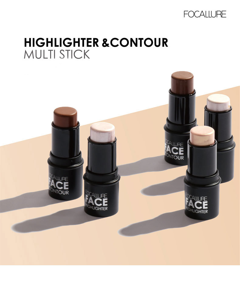 FOCALLURE Face Blushes Bronzer Highlighter and Shimmer for Bright Idea Illuminating Sticker Makeup Tools 4 colors