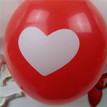 12inch round Printing heart-shaped balloons red white latex 30pcs/lot Party supplies birthday party wedding balloons(China (Mainland))