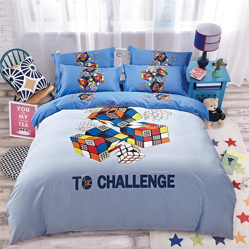 2016 40S Cotton Bedding Set To Challenge Blue Queen Size 4PCS Duvet Cover Set Children Sheet housse de couette fundas nordicas(China (Mainland))