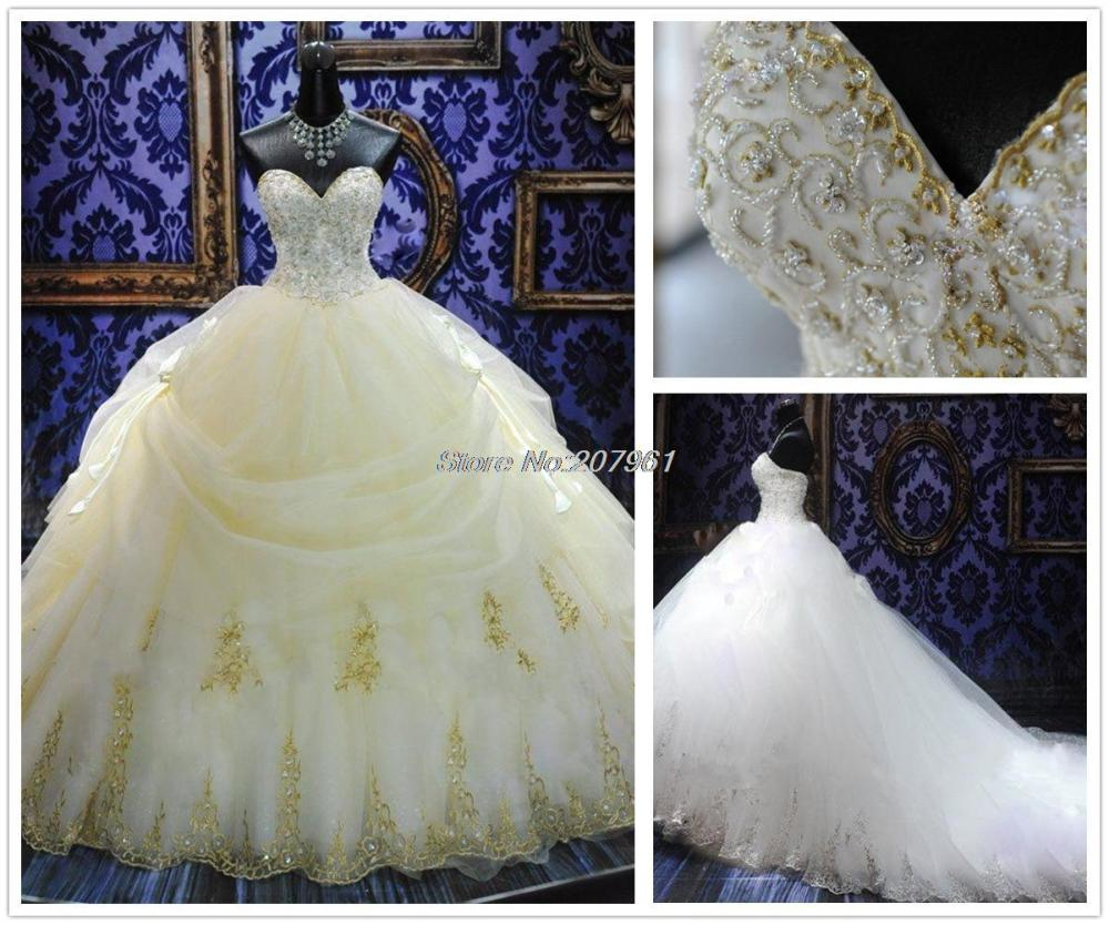 100 real sample white gold lace wedding dress 2015 for White and gold lace wedding dress