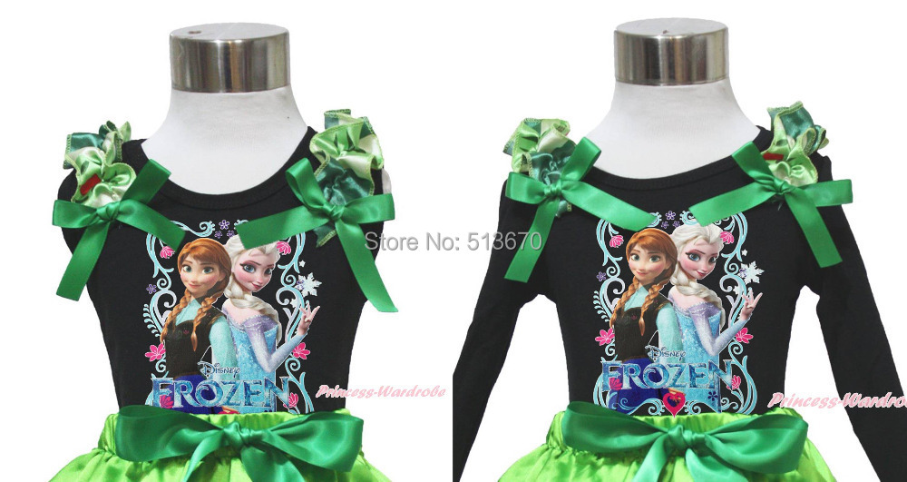 St Patrick's Day Rhinestone Princess Elsa Anna Painting Ruffle Bow Girl Black Pettitop Shirt NB-10Year MATP0191(Hong Kong)
