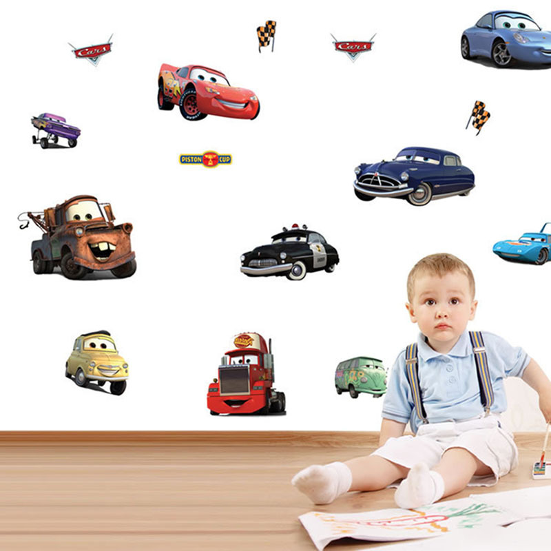 Cartoon car child room decoration wall stickers for kids rooms boys girl nursery decor wallpaper for kids baby room wall B073(China (Mainland))