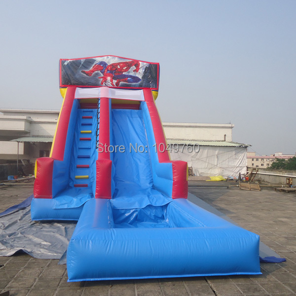 Inflatable Slide Commercial: Commercial Grade Spiderman Backyard Inflatable Water Slide