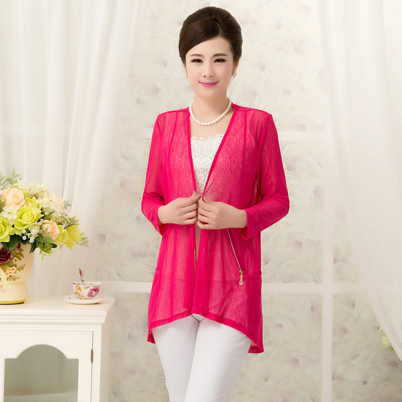new high-grade elderly nine female sleeve cardigan yarn mill size in the long section of the small Cape sun shirt(China (Mainland))