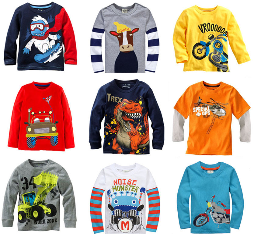 Retail Brand 2015100%cotton kids clothes child t-shirt clothing for baby boys long sleeve top tshirts Casual blouse cartoon(China (Mainland))