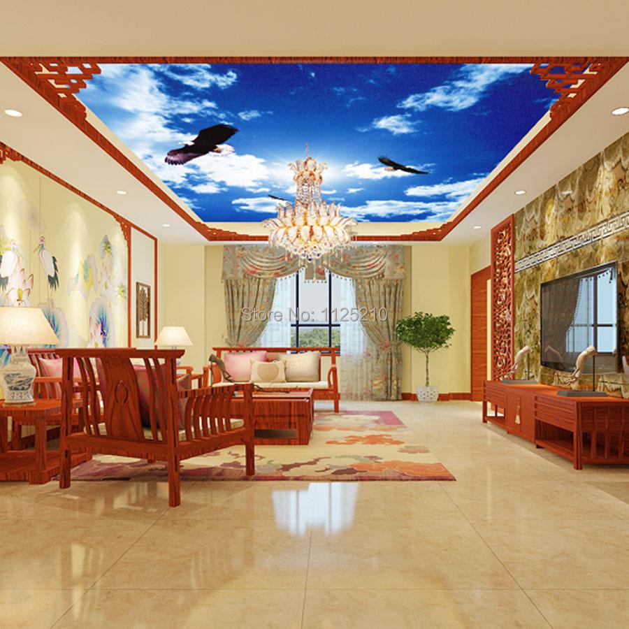 Free shipping mural wallpaper living room bedroom ceiling for Mural room white house