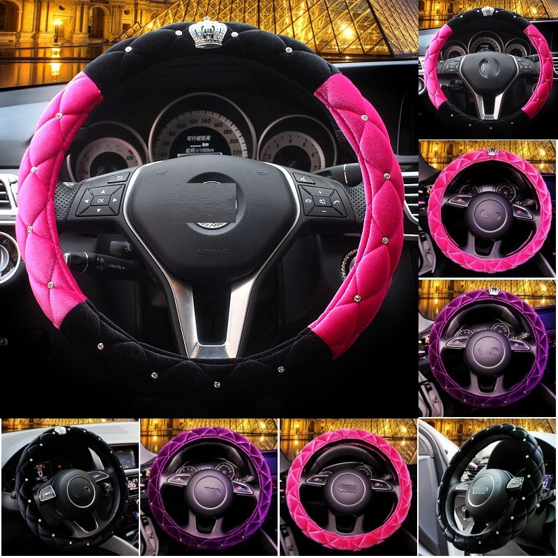 2016 Autumn plush fashion women car steering wheel cover with rhinestone covered crown for outer diameter 38cm steering-wheel(China (Mainland))
