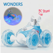 Brand New Mini Led RC 360 Wheelie Remote Radio Control Twister  Stunt Car Roll Rotate Wheel Vehicle Motor Toy(China (Mainland))
