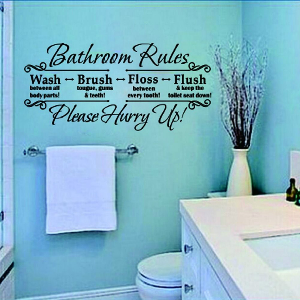 Bathroom Rules Wall Decor : Bathroom rules quote removable wall sticker vinyl art