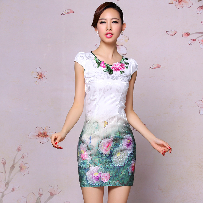 Women's fashion vintage print embroidery daily casual short-sleeve design short cheongsam one-piece dress - XiangQing-Cheongsam store