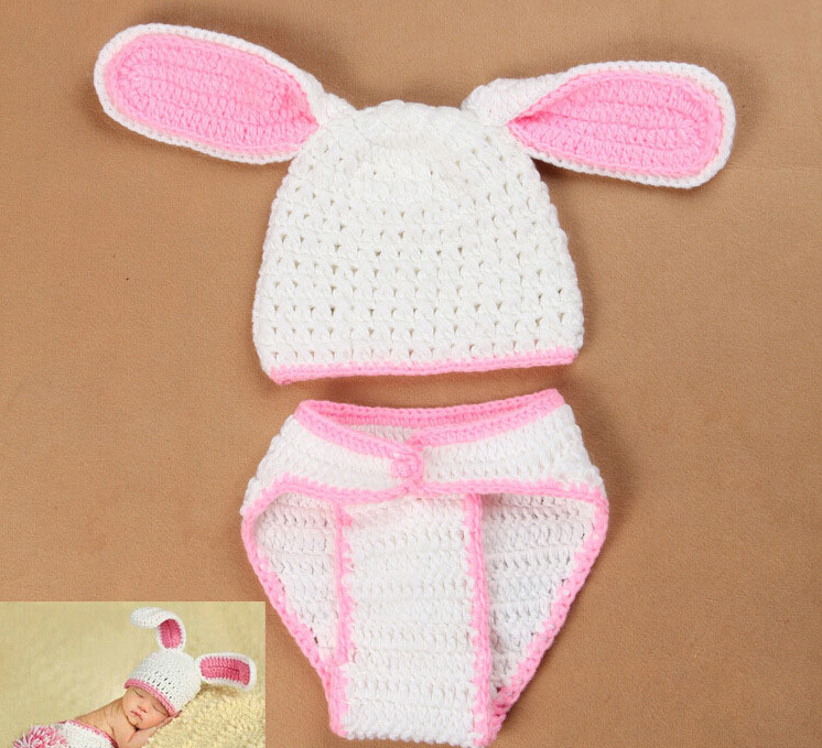 Soft Adorable Newborn Crochet Outfits Baby Hat rabbit Baby Cap Newborn Photography Props For 0-6 Month<br><br>Aliexpress