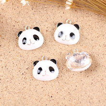20PCS Gold Tone Enamel Kawaii Panda Animal Shape Enamel Pendant Charms Fit for DIY Jewelry Bracelet Necklace Keyring 18*18mm