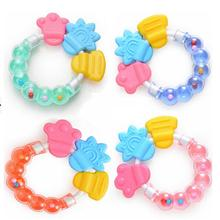 1Pcs Silicon Baby Teether Massager Infant Training Tooth Cute Toddler Bell Toys (China (Mainland))