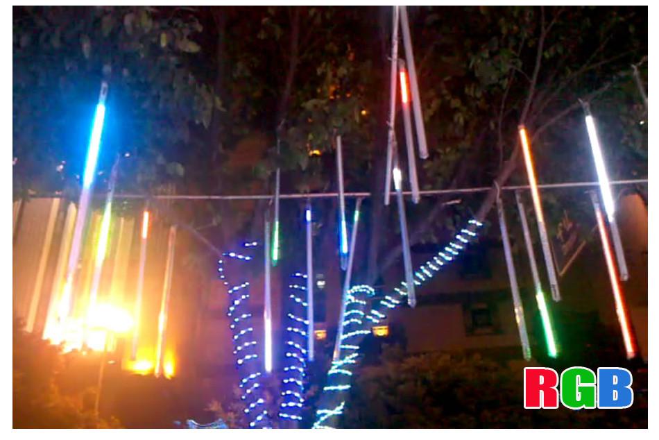 Фотография 8pc 50CM White Meteor Shower Rain Tubes Wedding Garden Christmas Decoration LED String Light 100-240V/EU romatic decoration lamp