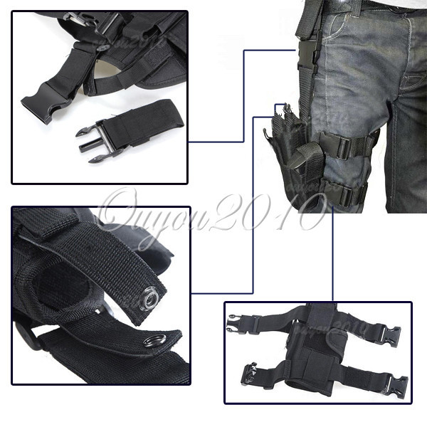 Adjustable Black Outdoor Hunting Waterproof Military Tactical Puttee Thigh Leg Pistol Gun Holster Pouch Quick Release Buckle(China (Mainland))