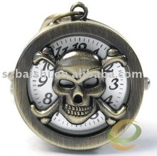 30xBRONZE SKULL KEY RING CHAIN PENDANT POCKET QUARTZ WATCH +Gift&Free Shipping