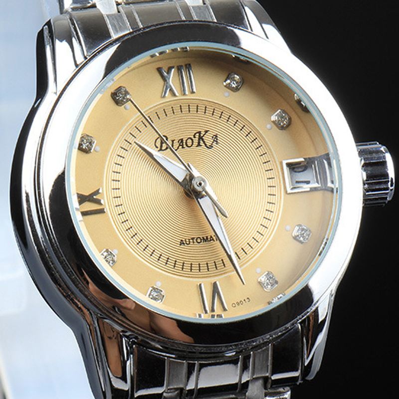 Top Switzerland Brand Full Stainless Steel Clasp Silver Case Auto Date Calendar Men's Automatic Machine Male Watches Q9013(China (Mainland))