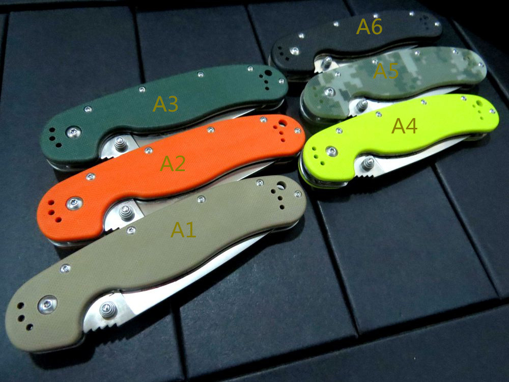 Buy 5PCS/LOT Custom Hunting Tactical Survival Folding Knife With Sand Light Surface 9CR18MOV  Blade G10 Handle Camping Pocket Knives cheap