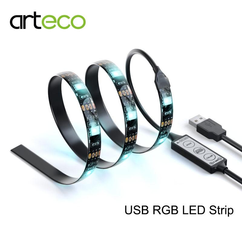 USB LED Strip RGB 5050 DC5V 1 Meter IP65 TV Background Lighting RGB LED strip(China (Mainland))