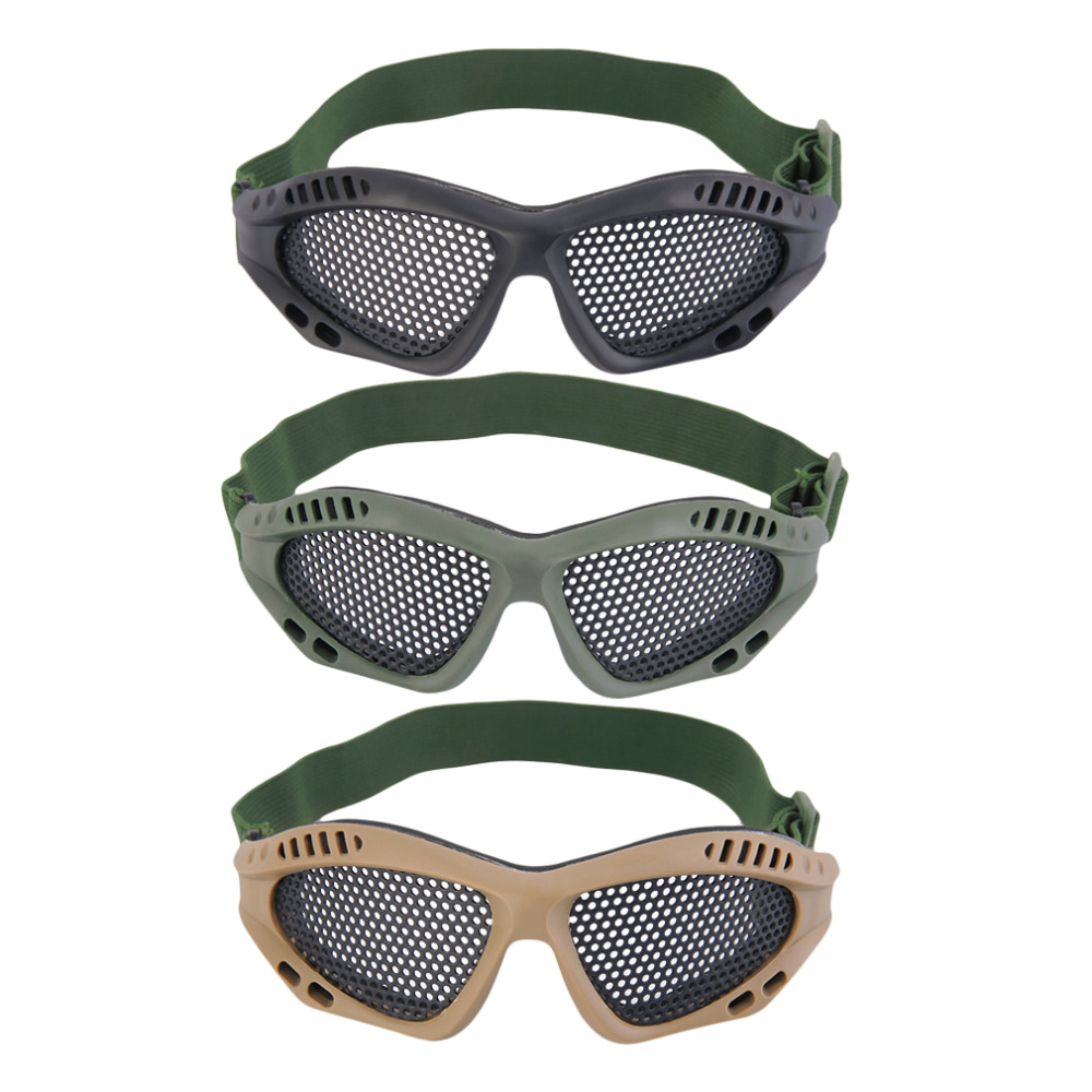 Tactical Outdoor Steel Mesh Eyes Protective Goggles Glasses Eyewear Eye Protective Metal Mesh CS Game Airsoft Safety