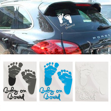 1PCS Refective Car Sticker Lovely Letter Baby on Board Baby Footprints Stickers Auto Safety Warning Window Sticker Black White(China (Mainland))