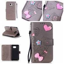 Bling Diamond Wallet Flip Case For Samsung Galaxy Note 5 Note5 N9200 Luxury Embossing Flower PU Leather Cover Phone Bag Coque