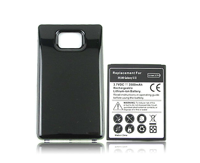 For Samsung Galaxy S2 SII i9100 Battery Phone Replacement Extended Thicker 3500mah Battery with Back Cover Black Free Shipping(China (Mainland))