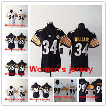 Women ladies all stitched Pittsburgh Steelers #84 Antonio Brown #7 Ben Roethlisberger #25 Bruns #26 LeVeon Bell(China (Mainland))
