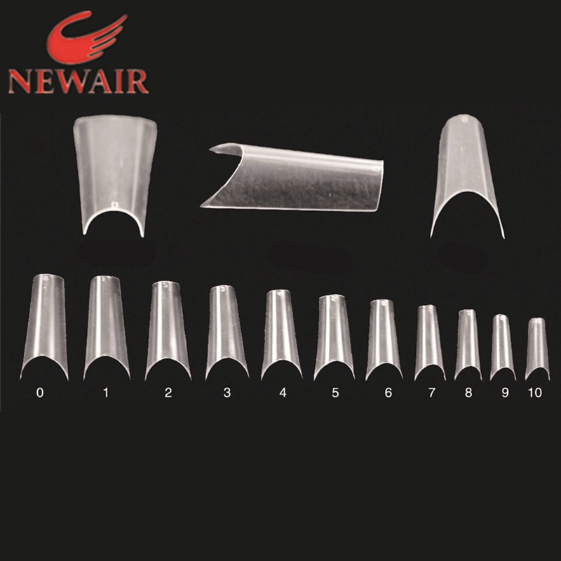 Brand new design completely curved nail tips 500pcs lots long french nails clear full cover false nail tips Free shipping(China (Mainland))