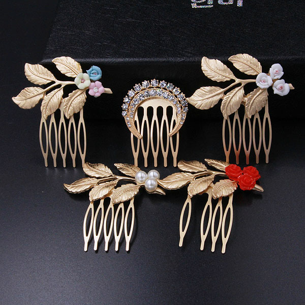 Korea purchasing clean ceramic flower Crystal hair clips side clips wild sea Combs photo hair accessories F119(China (Mainland))