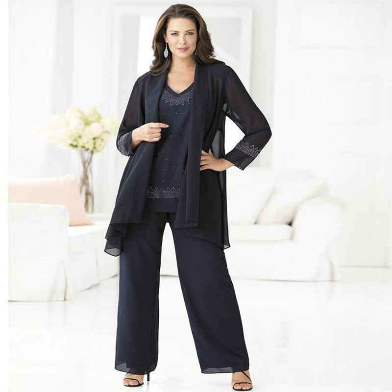 Cheap navy mother of the bride pant suits elegant 3 piece for Dress pant suits for weddings plus size