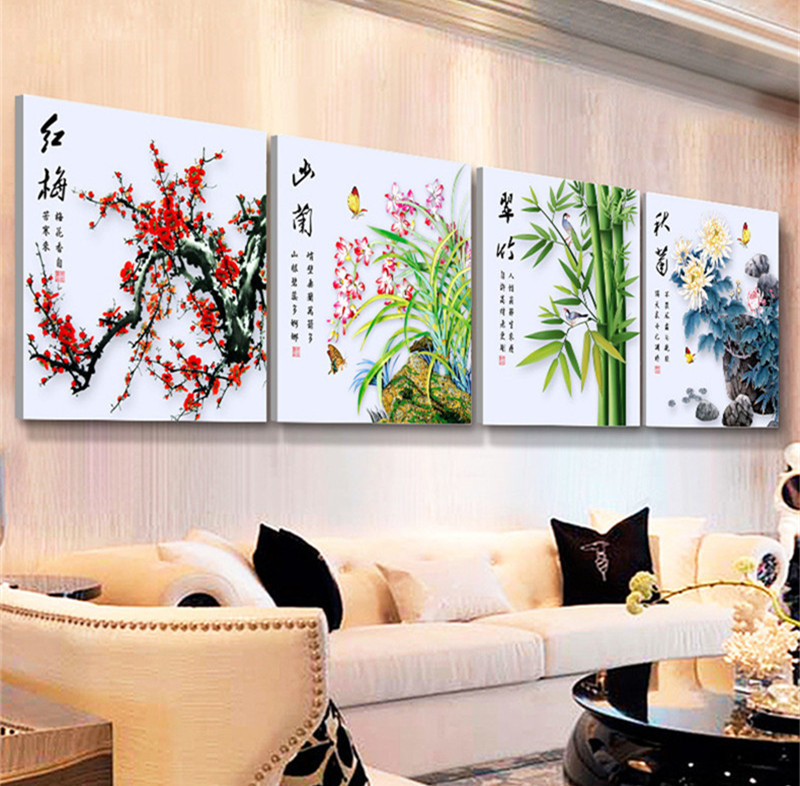 YGS-3 DIY 5D Diamond Mosaic Plum Orchid Bamboo Chrysanthemum flowers Diamond Painting Cross Stitch diamond embroidery Home Decor(China (Mainland))
