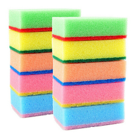 10pcs/lot Colorful Magic Sponge Eraser Kitchen Toilet Household Cleaning Sponges Scouring Pads Cleaner 7x2.8x10CM Free Shipping(China (Mainland))