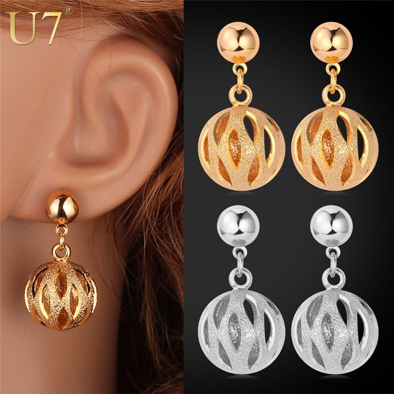 Lovely Ball Earrings 2015 New Trendy Platinum/18K Real Gold Plated Fashion Jewelry Wholesale Round Drop Earrings For Women E502