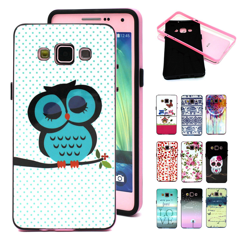 For Samsung Galaxy A5 Case 2 in 1 Combo Soft Silicon Cover+TPU Frame Shell Case Sleep Owl Capa for Samsung A5 A7 Phone Cases