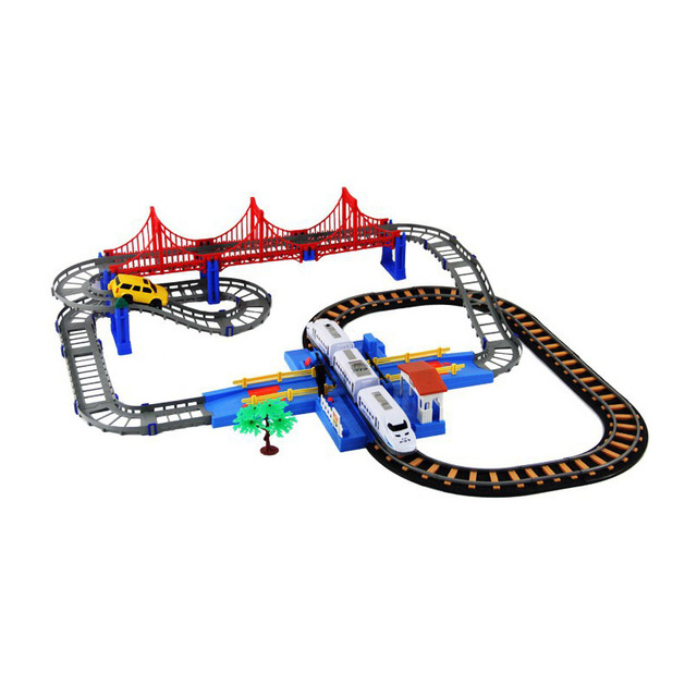 2016 Hot Sell ABS 3D Two-layer Spiral Track Roller Coaster Toy Electric Rail Car+train For Children Gift 25588 1set/lots
