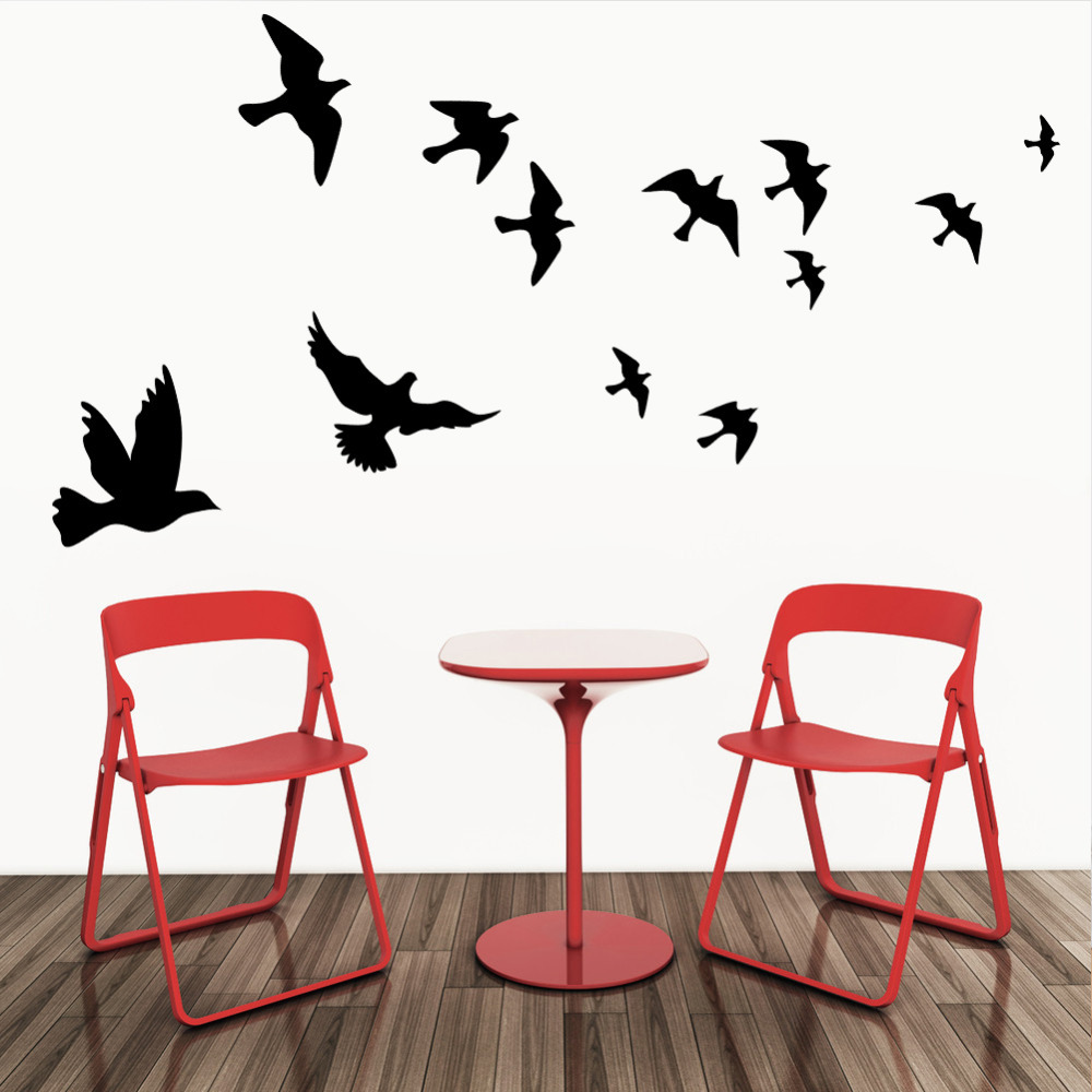 Large size Free Shipping Pretty Birds flying Wall Art Vinyl Home Decoration Removable Sticker 8501(China (Mainland))