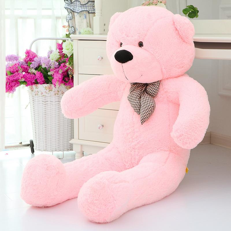 big plush lovely teddy bear toy big eyes bow bear toy stuffed pink teddy bear gift 140cm(China (Mainland))