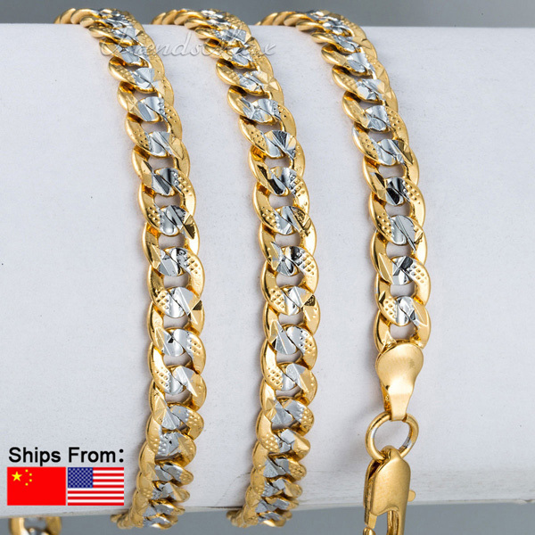6mm Wholesale Hammered Cut Round Curb Cuban Womens Mens Silver Yellow Gold Filled GF Chain Necklace Personalized Jewelry LGN275(China (Mainland))