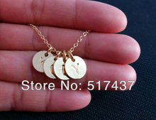 Women fashion letter necklace ,Custom FOUR Initial Monogram 16 K GOLD Necklace, Tiny Initial letter Necklace, Mother's Jewelry(China (Mainland))