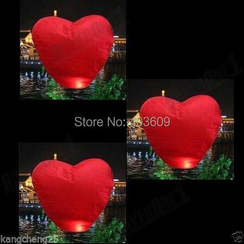 2psc Red Heart Sky Lanterns Chinese Wishing Lantern Classic Toys Balloon Shape(China (Mainland))