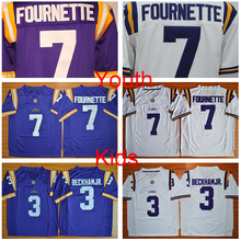 New LSU Tigers Youth College Football Jerseys Kids 7 Leonard Fournette 3 Odell Beckham Jr. Jerseys Purple White Best Free Shippi(China (Mainland))
